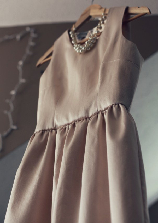 Blush Silk wool wedding rehearsal dinner dress Charmeuse Lining