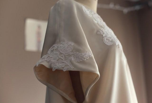 alencon lace and silk charmeuse cream white top blouse