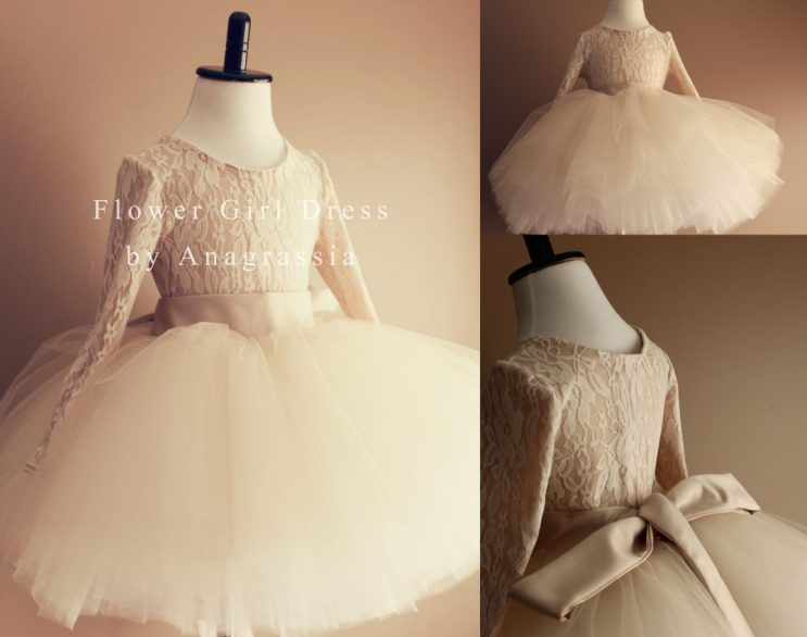 White Ivory Champagne Alencon Chantilly Lace Leotard Tulle Skirt Flower Girl Dress Wedding