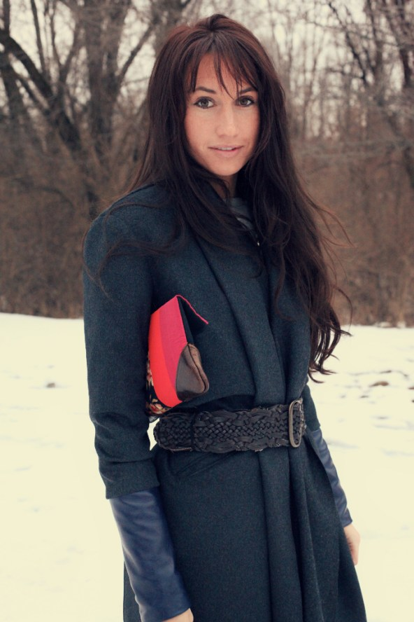Charcoal Wool and navy leather 1 2011 126 Burdastyle sewing pattern winter coat