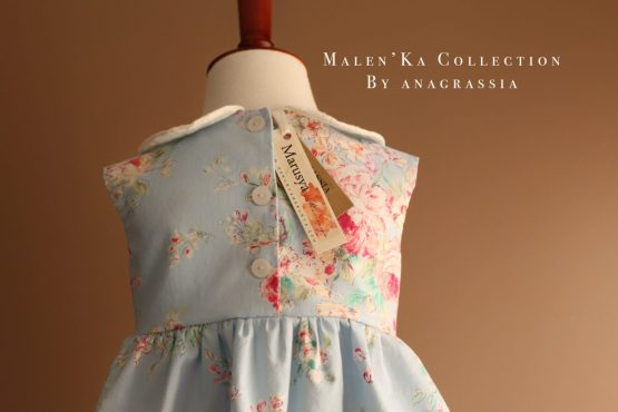 Blue Colorful Floral Baby Summer Spring Dress with Pin Tucks, Peter Pan Collar, Back Buttons, and Full Skirt. Handmade by Marusya of Anagrassia Melan'Ka Collection