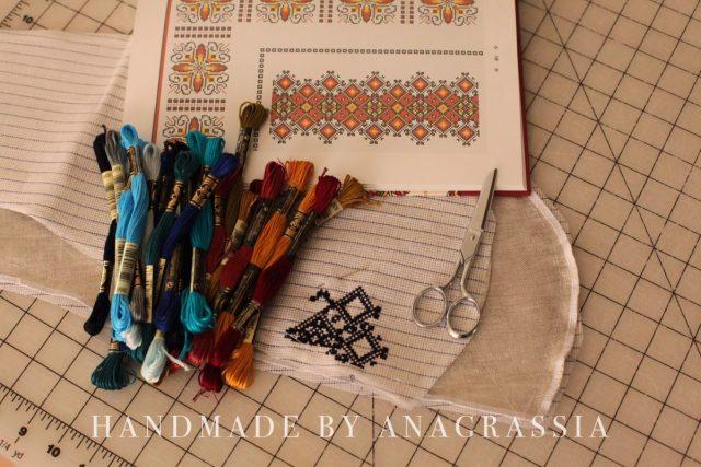 Ukrainian embroidery shirt blue handmade threads copy