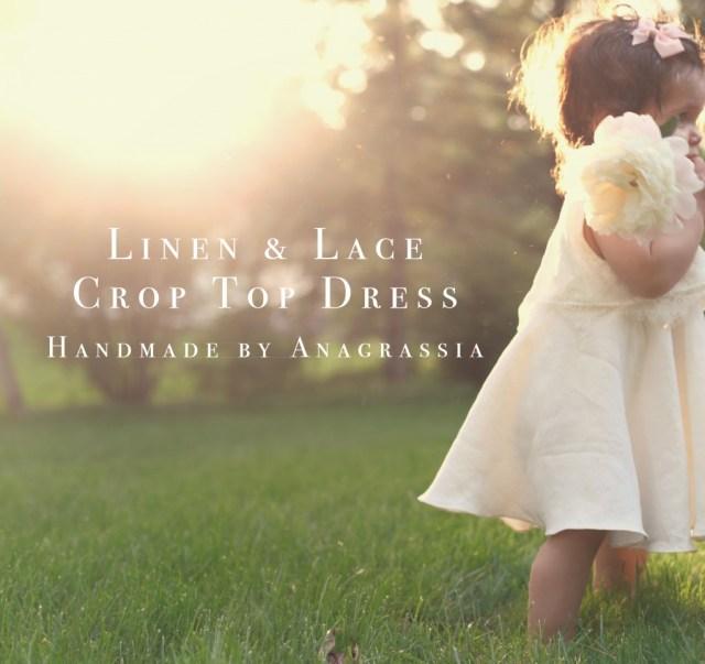 linen, lace, crop, top, dress, girls, ivory, white, wedding, studio, atelier, marusya