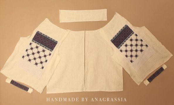 Ukrainian, embroidery, shirt, blue, handmade, threads, anagrassia, russian, folkwear, marusya, dress, linen