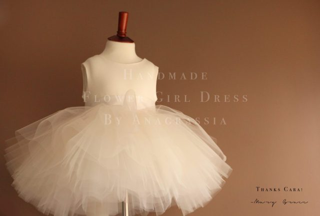 flower girl dress Anagrassia simple ivory leotard tulle skirt