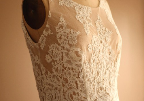 Wedding rehearsal champagne silk wool jersey ivory alencon lace dress