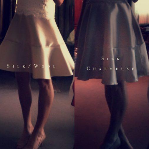 Wedding rehearsal champagne silk wool jersey ivory alencon lace dress