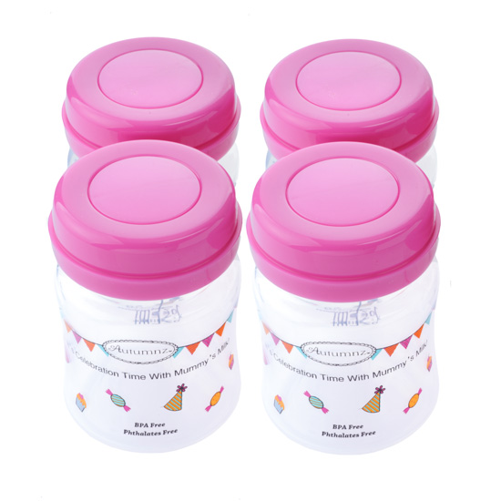 Autumnz-Wide Neck Breastmilk Storage Bottles (4 bottles) - Rose
