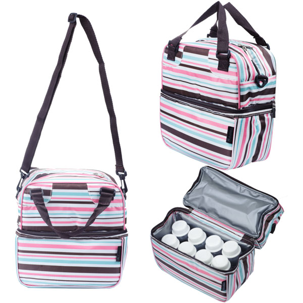Cooler Bag POSH Pleasing Pink Brown Stripes