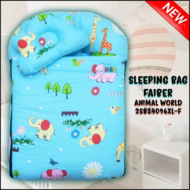 SLEEPING BAG FIBER ANIMAL WORLD KAIN COTTON ASLI SAIZ XL