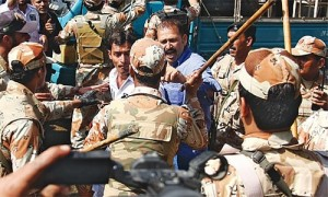 rangers bruttaly charging on PIA employees