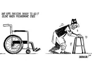 Stumbling Pakistani Economy Cartoon