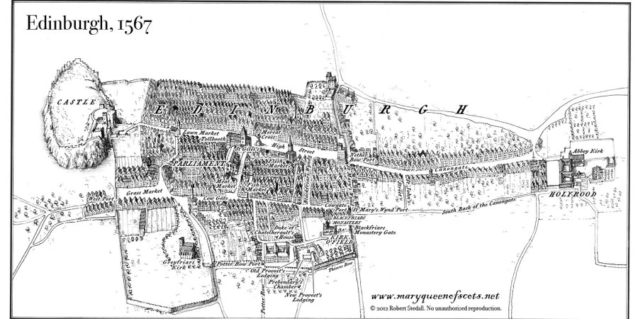 Map showing the city of Edinburgh in the year 1567 showing Holyrood, Abbey Kirk.