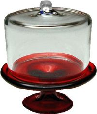 Red Glass Cake Plate w/ Cover | Mary's Dollhouse Miniatures