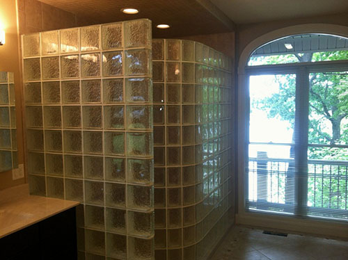 glass block shower erected from layout card design