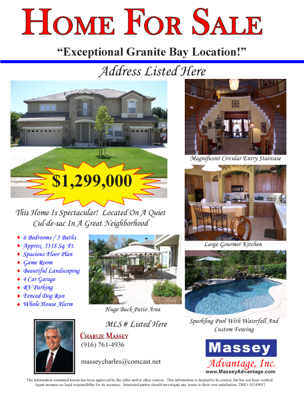 Greater Sacramento Real Estate - Charlie Massey Flyer Example - examples of a flyer