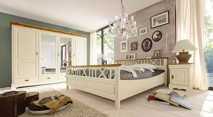 Schlafzimmer Paris landhausstil Kiefer massiv Holz cremeweiss - schlafzimmer creme wei