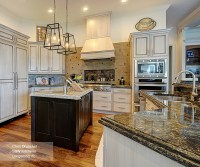 Off White Cabinets with a Dark Wood Kitchen Island ...