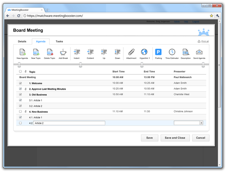 Educational Meeting Management Software - MatchWare MeetingBooster