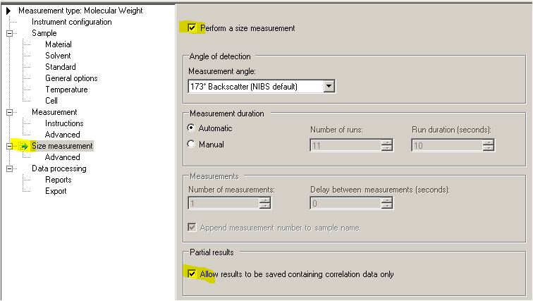 Molecular weight with batch static light scattering SLS