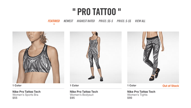 "Image 1: Nike's ""Pro Tattoo"" collection of women's exercise apparel, before its discontinuation."