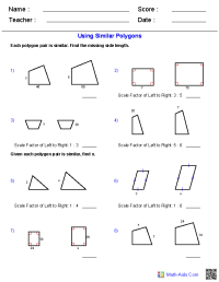 Geometry Worksheets | Similarity Worksheets