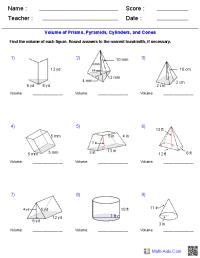 Geometry Worksheets | Surface Area & Volume Worksheets