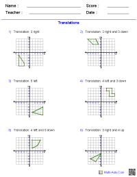 Geometry Worksheets | Transformations Worksheets