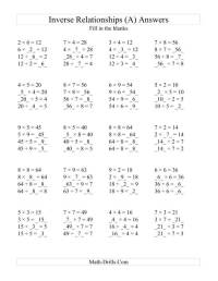 Multiplication And Division Inverse Worksheets ...