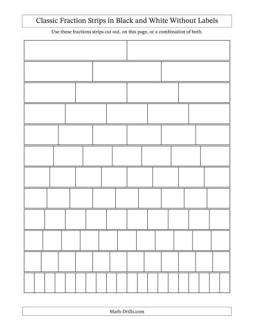 Fraction Strip Template – Math Worksheet Template