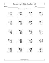Large Print 3-Digit Minus 2-Digit Subtraction (A)