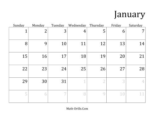 Monthly General Year Calendar with January 1 on Sunday (A)