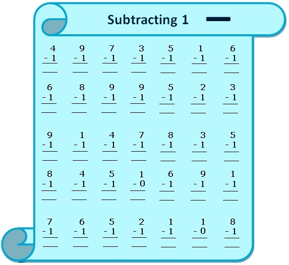 Worksheet on Subtracting 1 Questions Based on Subtraction - subtraction table