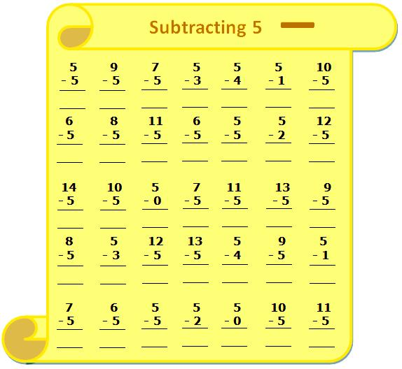 Worksheet on Subtracting 5, Questions Based on Subtraction - Subtraction Table