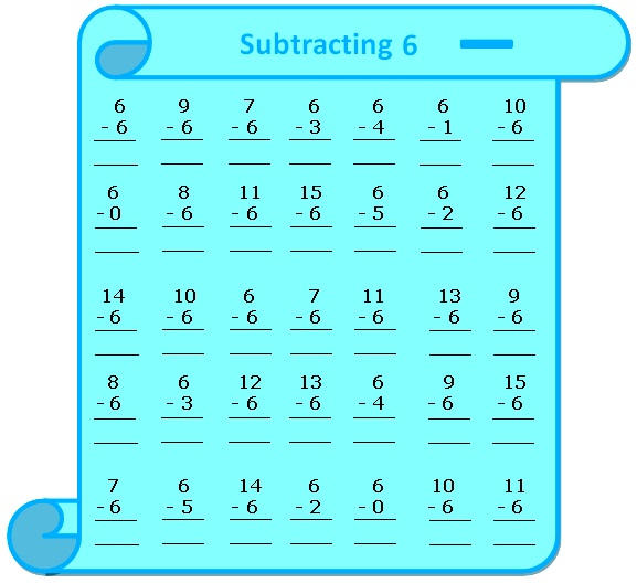 Worksheet on Subtracting 6, Questions Based on Subtraction - subtraction table