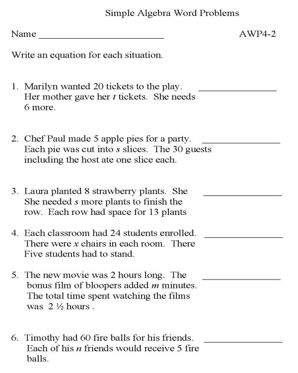 BlueBonkers - Algebra - Word Problems - P2  free printable math - sample word problem worksheets