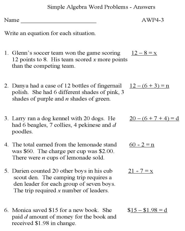 BlueBonkers - Algebra - Word Problems - P3 (solution)  free