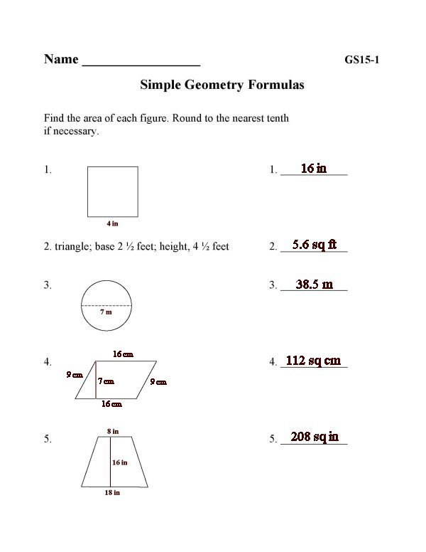 Printable Geometry Formula Sheet
