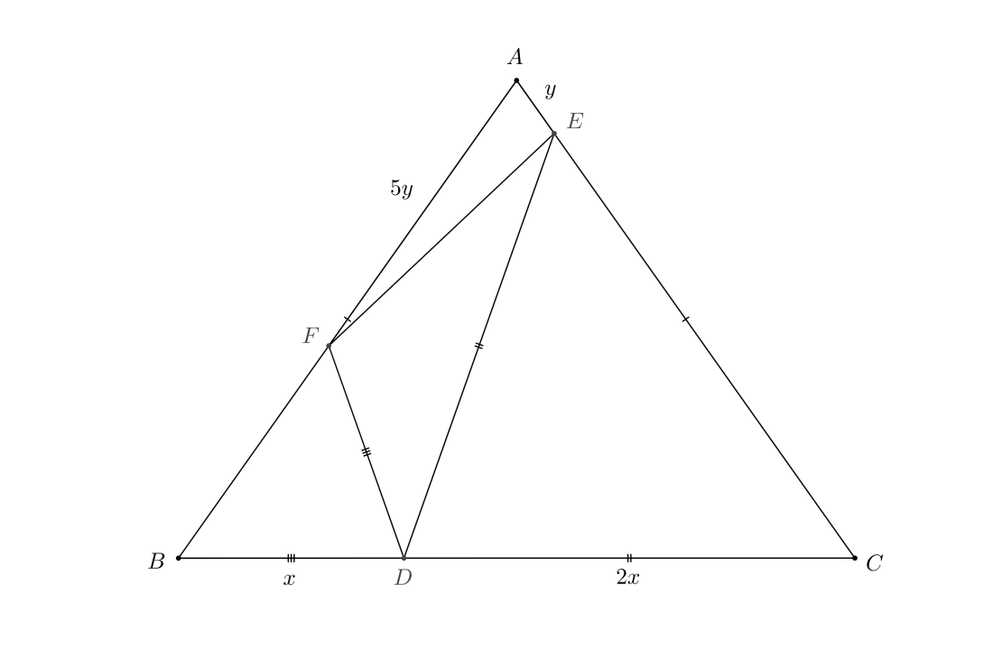Diagram for Problem 2 showing triangle ABC with points D, E, and F marked, and the line segments DE, EF, and DF drawn.
