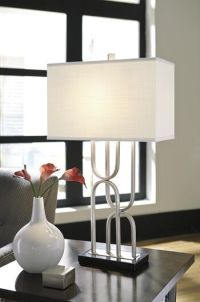 Contemporary Scrolled Table Lamp in Silver | Mathis ...