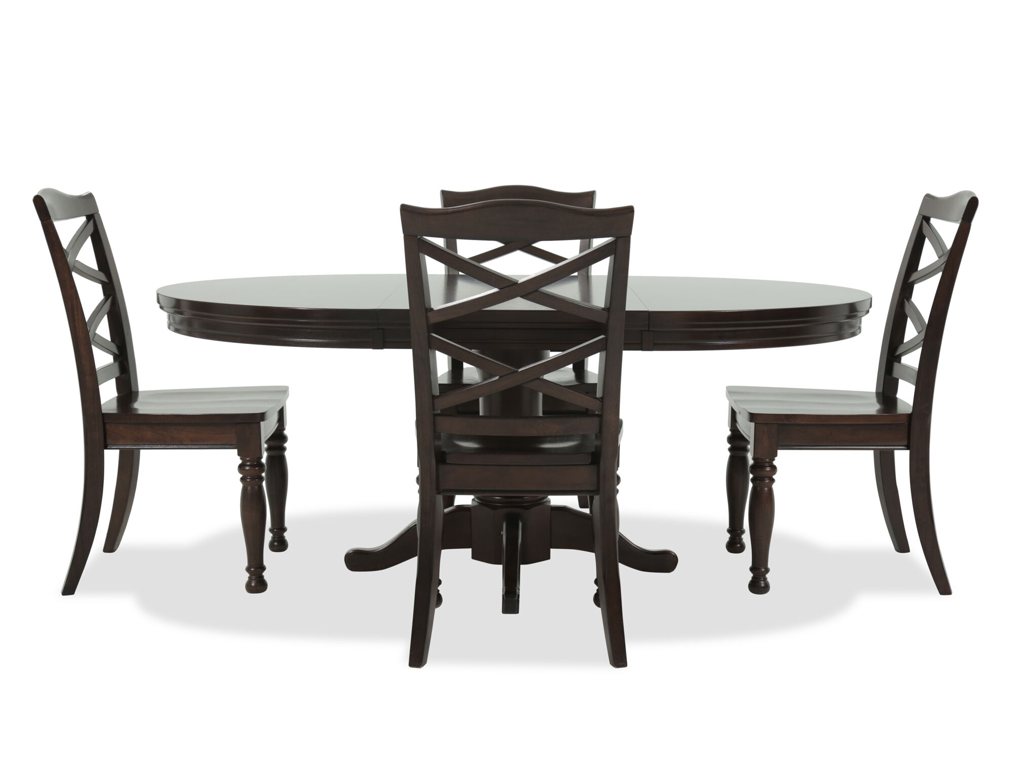 Five Piece Traditional Round Extension 483939 To 723939 Dining