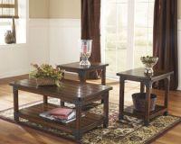 Three-Piece Nailhead Trim Rustic Farm House Accent Table ...