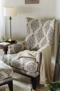 Patterned Contemporary Accent Chair and Ottoman | Mathis ...