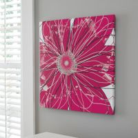 Contemporary Floral Design Canvas Wall Art in Pink/Black ...