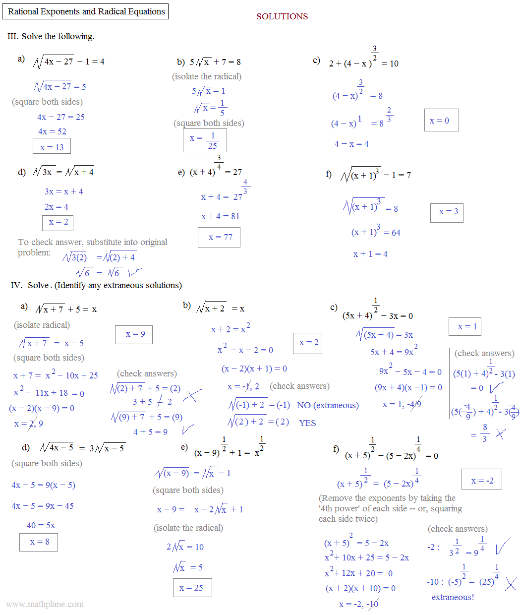Equations Worksheet With Answers Delibertad – Fractional Exponents Worksheet