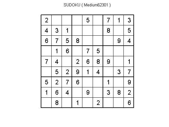 Solve and Create SUDOKU puzzles for different levels - File Exchange
