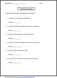 6th Grade Math Worksheets Algebra