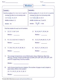 Mean, Median, Mode and Range Worksheets