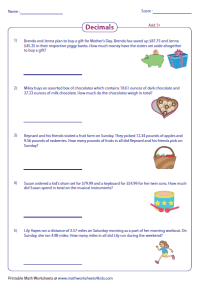 Collection of Adding Decimals Word Problems Worksheet ...