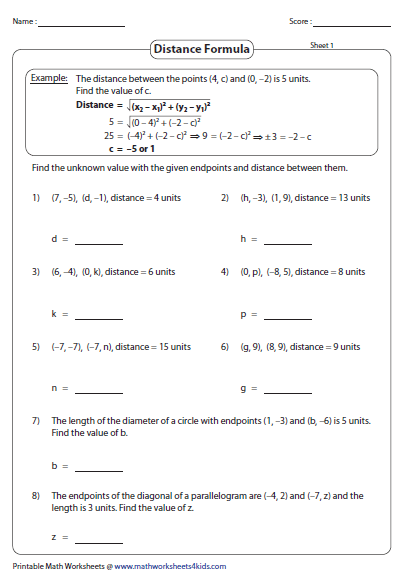 midpoint and distance formula word problems doc